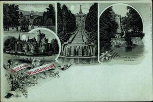 Mondschein Litho Kassel in Hessen, Wilhelmshöhe v. d. Allee, Löwenburg, Cascaden, Wasserfall