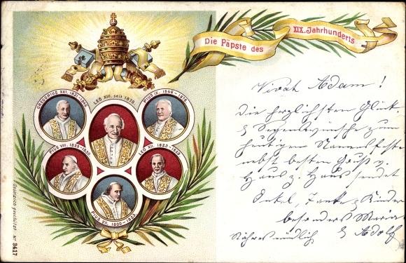 Litho Die Päpste des XIX. Jahrhunderts, Leo XIII., Pius IX., Gregorius XVI., Pius VIII., Leo XII.