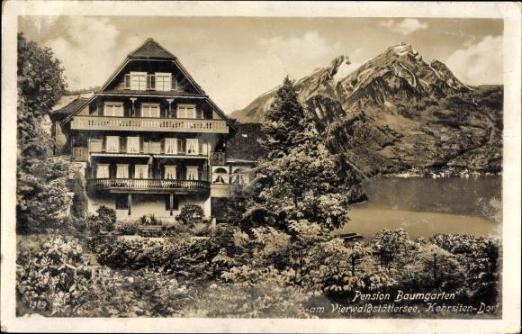 Ak Kehrsiten Stansstadt Kt. Nidwalden, Pension Baumgarten am Vierwaldstättersee