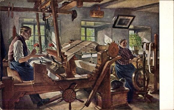 Künstler Ak Meinholds Handwerkerbild Nr 10, Weber, Spinnrad