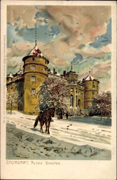 Künstler Litho Strützel, Otto, Stuttgart in Baden Württemberg, Altes Schlos, Winter, Reiter