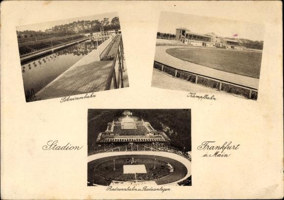 Ak Frankfurt am Main, Stadion, Schwimmbahn, Kampfbahn, Radrennbahn und Badeanlagen