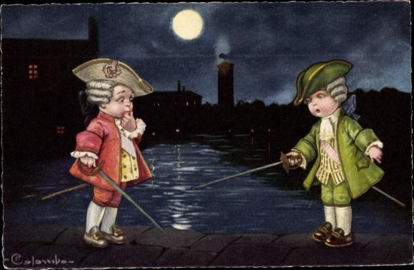 Mondschein Künstler Ak Colombo, E., zwei Jungen fechten, hist. Kostüme, Stadtbild bei Nacht