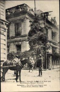 Ak Thessaloniki Griechenland, Incendie des 18 - 20 Aout 1917, Rue Ernaque, Banque Ottomane, cheval