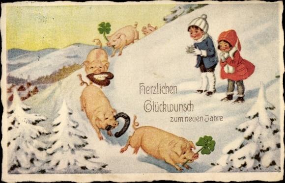 Ak Glückwunsch Neujahr, Schweine, Hufeisen, Kleeblätter, Lebkuchen, Schneelandschaft