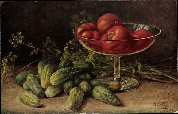 Künstler Ak Billing, M., Gurken, Tomaten, Stillleben