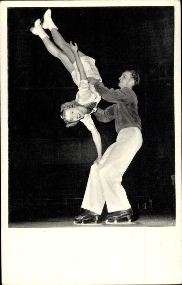 Ak Artisten Margot Elfert u. Walter Hofer, Eislaufen, Figur