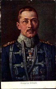 Künstler Ak Kronprinz Wilhelm von Preußen, Portrait, Husarenuniform