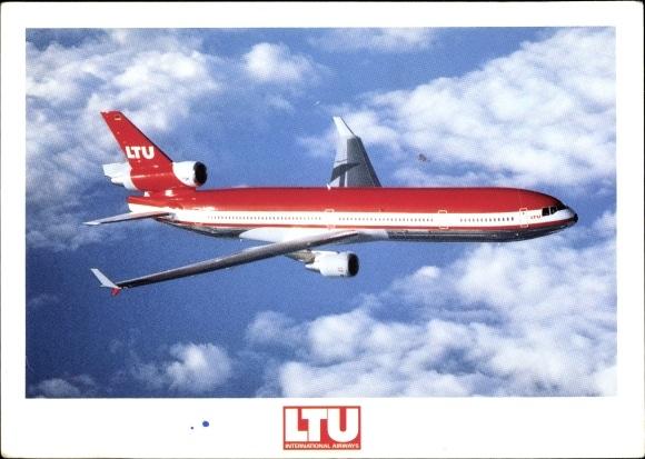 Ak Deutsches Passagierflugzeug, LTU McDonnell Douglas MD 11, Werbung