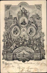 Ak Waffenbrüderschaft, Kaiser Wilhelm II., Kaiser Franz Joseph I., Schlacht v. 1797, Jubiläum 1897