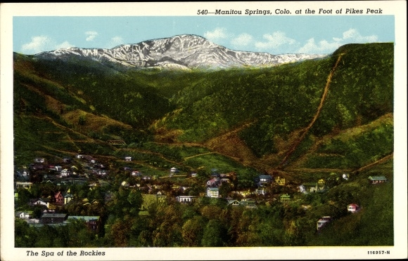 Ak Manitou Springs Colorado USA, general view of the town, Pikes Peak