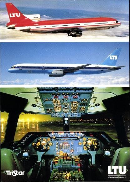 Ak Deutsches Passagierflugzeug, LTU Boeing 757-200, Triebwerk Rolls Royce, TriStar L-1011-1, Cockpit