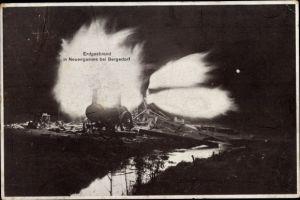 Ak Hamburg Bergedorf Neuengamme, Erdgasbrand, Nacht