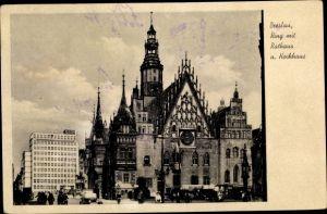 Ak Wrocław Breslau Schlesien, Ring mit Rathaus und Hochhaus