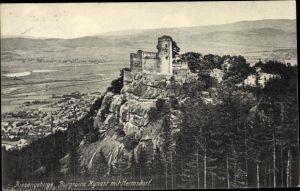 Ak Sobieszów Hermsdorf Kynast Riesengebirge Schlesien, Burgruine Kynast mit Hermsdorf