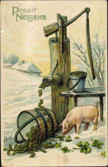 Präge Ak Glückwunsch Neujahr, Geld, Brunnen, Kleeblätter, Schwein