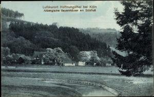 Ak Hoffnungsthal Rösrath Rheinisch Bergischen Kreis, Altbergische Bauernhäuser am Sülzfluss, Wald