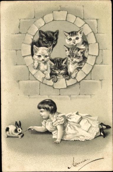 Präge Litho Katzenjunge, Mädchen, Spielzeughase