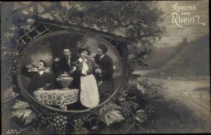 Ak Gruß vom Rhein, Gruppe junger Männer bei einer Flasche Wein, Wirtin