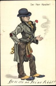 Künstler Ak Der Herr Kavalier, Landstreicher mit Zigarette