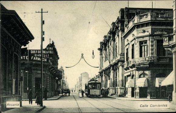 Ak Rosario Argentinien, Calle Corrientes, Straßenbahn