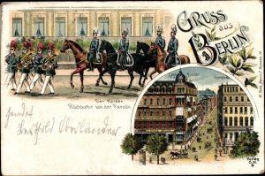 Litho Berlin, Der Kaiser, Rückkehr von der Parade, Café Bauer, Kranzler