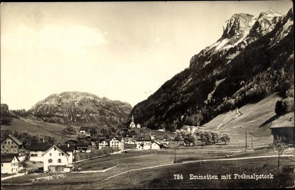 Ak Emmetten Kt. Nidwalden Schweiz, Blick auf den Ort, Frohnalpstock