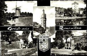 Ak Zons Dormagen Niederrhein, Mühlenturm, Rheinturm, Schlossruine, Freilichtbühne