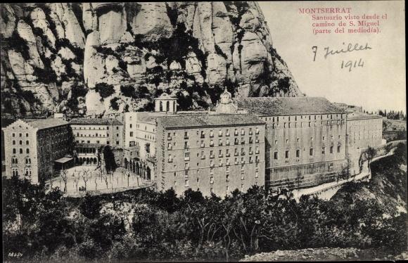 Ak Montserrat Katalonien, Santuario visto desde el camino de S. Miguel
