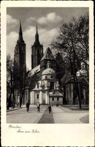 Ak Wrocław Breslau Schlesien, Dom, Ostseite