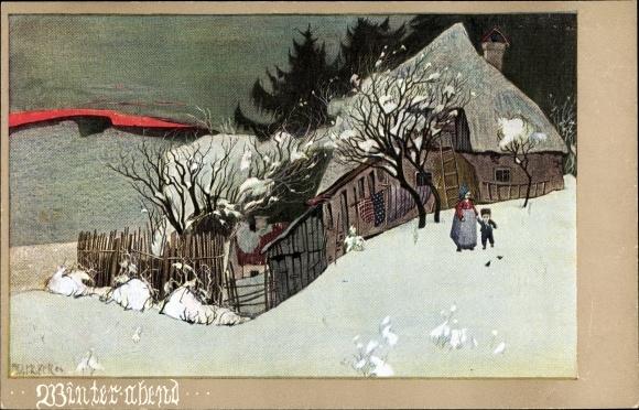 Künstler Ak Holzer, Ad., Winterabend, Wohnhaus