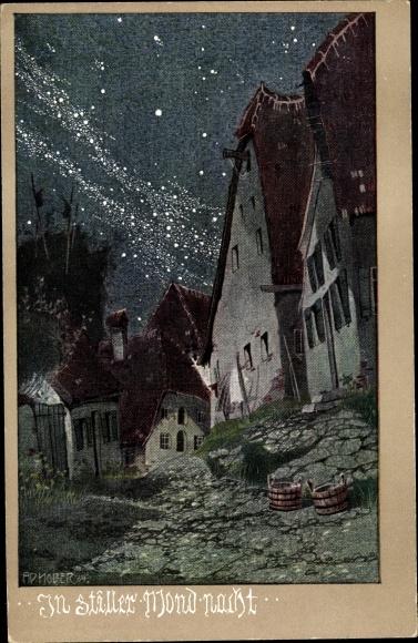 Künstler Ak Holzer, Ad., In stiller Mondnacht