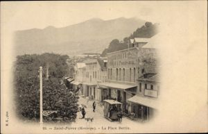 Ak Saint Pierre Martinique, La Place Bertin, Pferdestraßenbahn