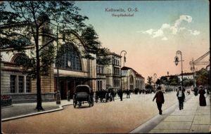 Ak Katowice Kattowitz Schlesien, Blick auf den Hauptbahnhof, Straßenseite