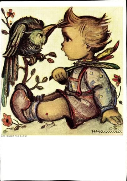 Künstler Ak Hummel Berta Papagei Zieht An Haaren Kind Nr 2288526