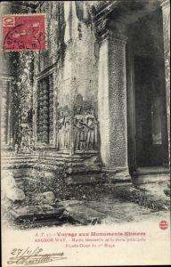 Ak Kambodscha, Angkor Wat, Motifs decoratifs de la porte principale, Facade Ouest du 1er Etage