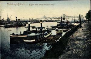 Ak Ruhrort Duisburg Nordrhein Westfalen, Hafen mit neuer Rheinbrücke