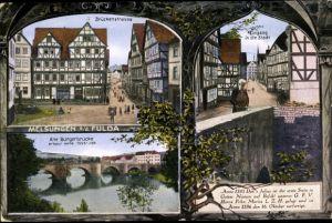 Ak Melsungen im Schwalm Eder Kreis, Brückenstraße, Stadteingang, alte Bürgerbrücke, anno 1595