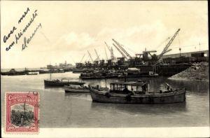 Ak Mosambik, Ponte do Caminho de Ferro, Hafenszene