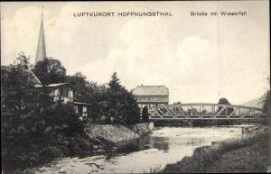 Ak Hoffnungsthal Rösrath im Rheinisch Bergischen Kreis, Brücke mit Wasserfall