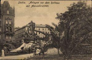 Ak Szczecin Stettin Pommern, Anlagen vor dem Rathaus mit Manzelbrunnen
