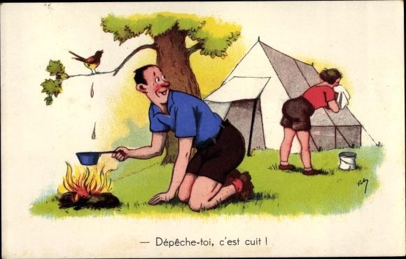 Künstler Ak Depeche toi, c'est cuit, Paar beim Zelten, Vogel