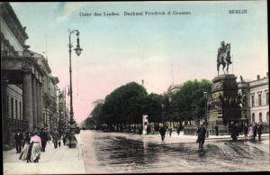 Ak Berlin, Unter den Linden, Denkmal Friedrich des Großen