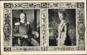 Passepartout Ak Großherzog Friedrich II von Baden, Hilda von Nassau, Portrait