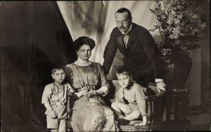 Ak Großherzog von Ernst Ludwig Hessen Darmstadt, Familienportrait, Postkartenwoche 1912
