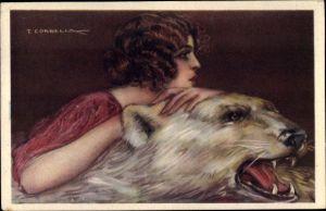 Künstler Ak Corbella, T., Frau auf einem Eisbärenfell