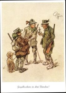 Künstler Ak Geilfus, H. Jagdlexikon in drei Bänden, Jäger