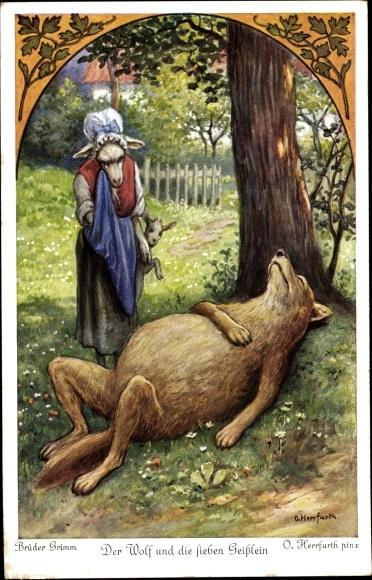 Künstler Ak Herrfurth, Oskar, Der Wolf und die sieben Geislein