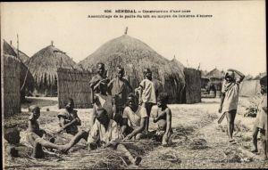 Ak Senegal, Construction d'une case, Bau einer Strohhütte