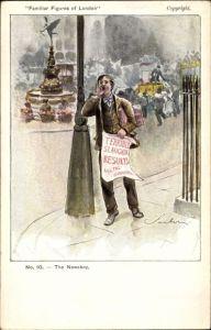 Künstler Ak Familiar Figures of London, The Newsboy, Zeitungsjunge